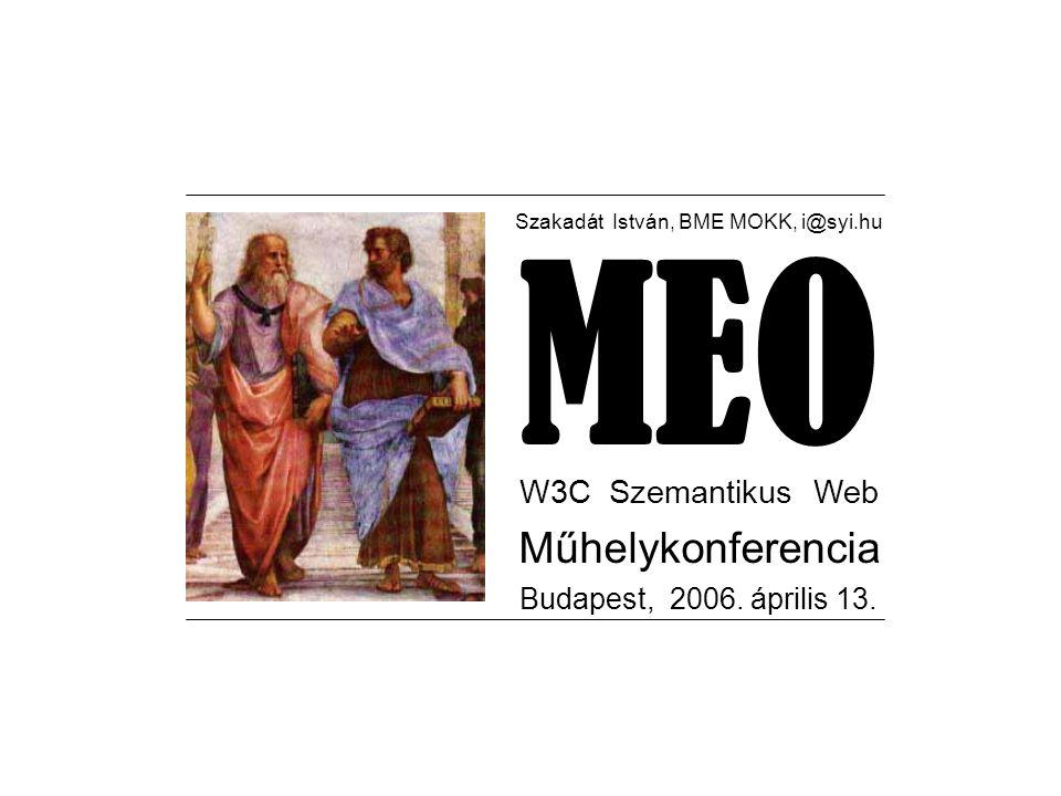 Szakadát István, BME MOKK, i@syi.hu MEO W3C Szemantikus Web Műhelykonferencia Budapest, 2006.