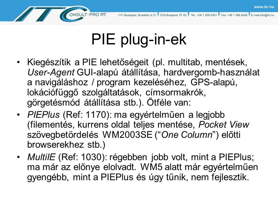 PIE plug-in-ek Kiegészítik a PIE lehetőségeit (pl.