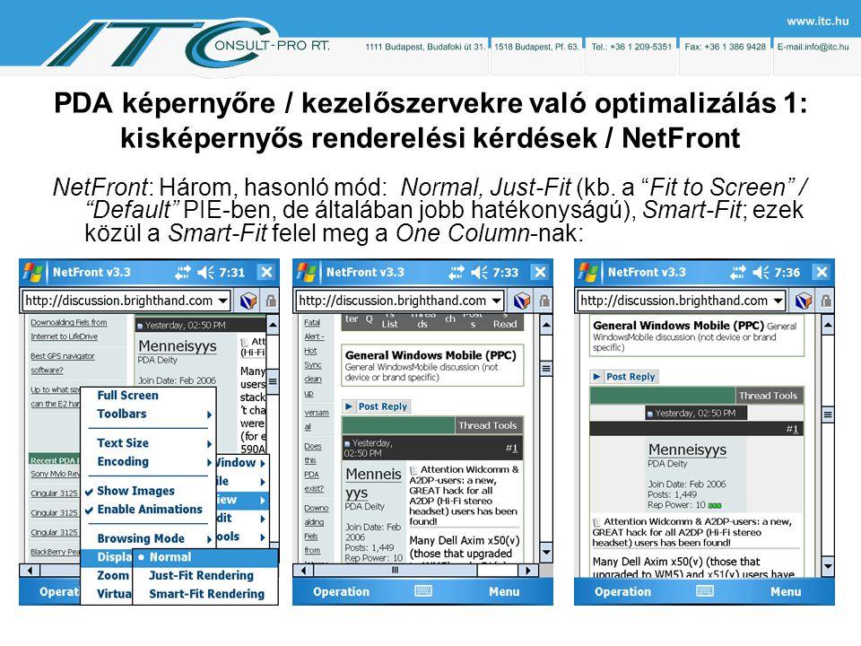 PDA képernyőre / kezelőszervekre való optimalizálás 1: kisképernyős renderelési kérdések / NetFront NetFront: Három, hasonló mód: Normal, Just-Fit (kb.