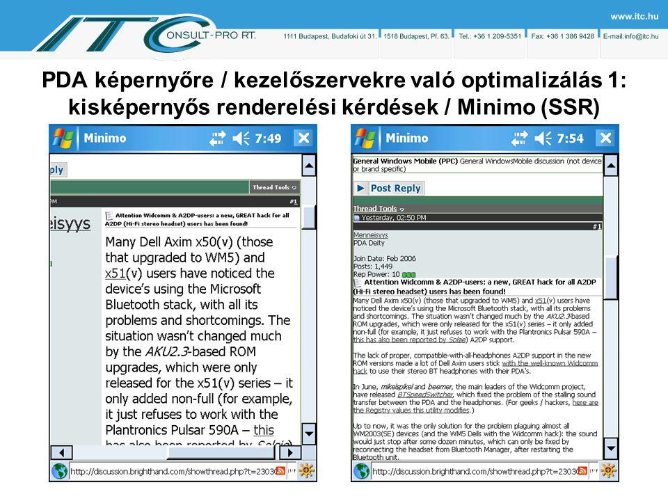 PDA képernyőre / kezelőszervekre való optimalizálás 1: kisképernyős renderelési kérdések / Minimo (SSR)
