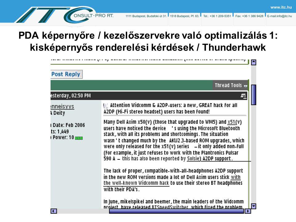 PDA képernyőre / kezelőszervekre való optimalizálás 1: kisképernyős renderelési kérdések / Thunderhawk