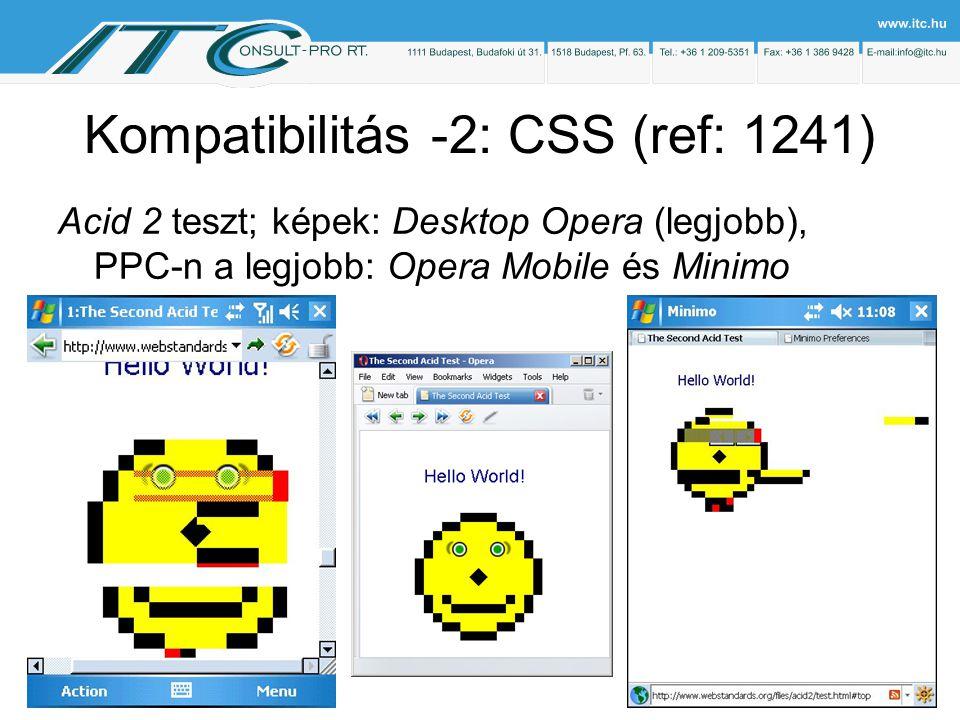 Kompatibilitás -2: CSS (ref: 1241) Acid 2 teszt; képek: Desktop Opera (legjobb), PPC-n a legjobb: Opera Mobile és Minimo