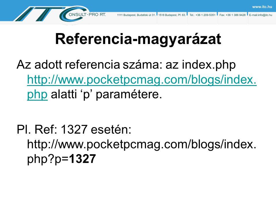 Referencia-magyarázat Az adott referencia száma: az index.php http://www.pocketpcmag.com/blogs/index.