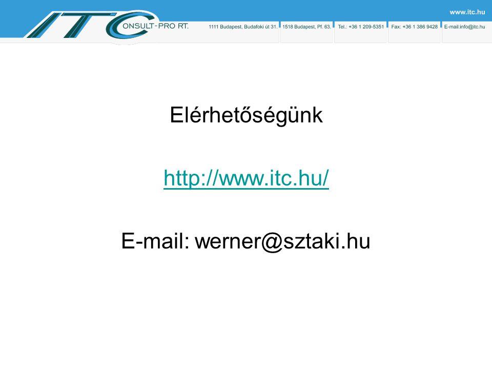 Elérhetőségünk http://www.itc.hu/ E-mail: werner@sztaki.hu