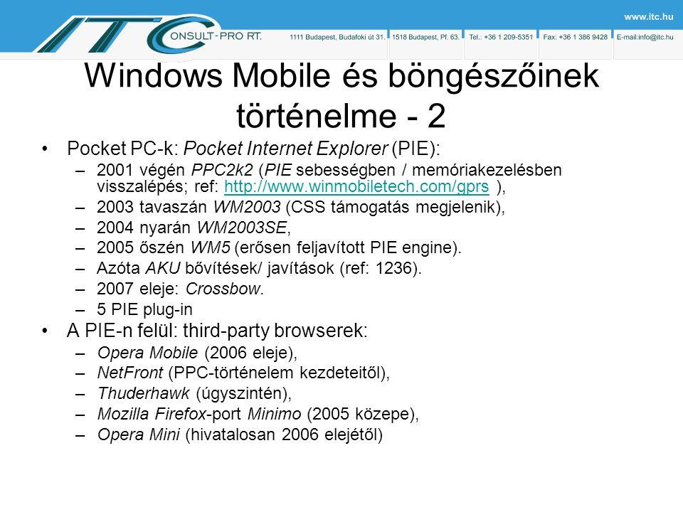 Windows Mobile és böngészőinek történelme - 2 Pocket PC-k: Pocket Internet Explorer (PIE): –2001 végén PPC2k2 (PIE sebességben / memóriakezelésben visszalépés; ref: http://www.winmobiletech.com/gprs ),http://www.winmobiletech.com/gprs –2003 tavaszán WM2003 (CSS támogatás megjelenik), –2004 nyarán WM2003SE, –2005 őszén WM5 (erősen feljavított PIE engine).