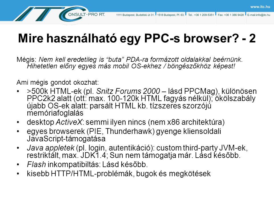 Mire használható egy PPC-s browser.