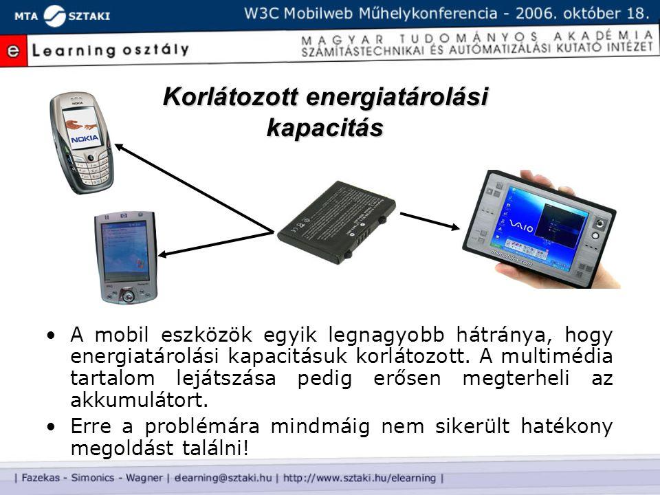 Korlátozott energiatárolási kapacitás A mobil eszközök egyik legnagyobb hátránya, hogy energiatárolási kapacitásuk korlátozott. A multimédia tartalom