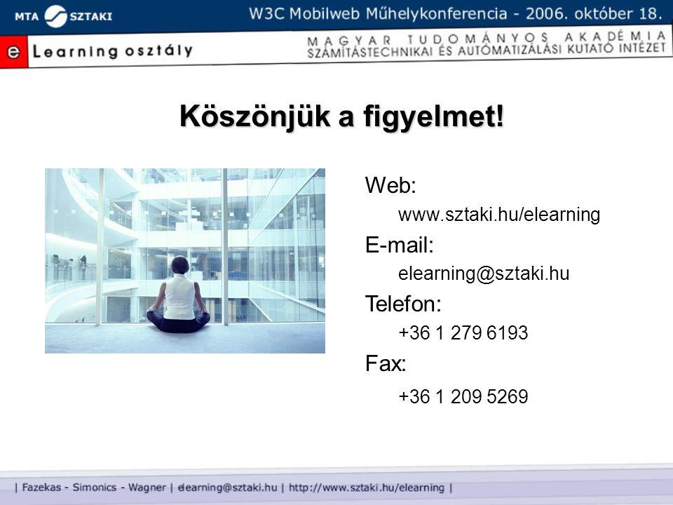 Köszönjük a figyelmet! Web: www.sztaki.hu/elearning E-mail: elearning@sztaki.hu Telefon: +36 1 279 6193 Fax: +36 1 209 5269