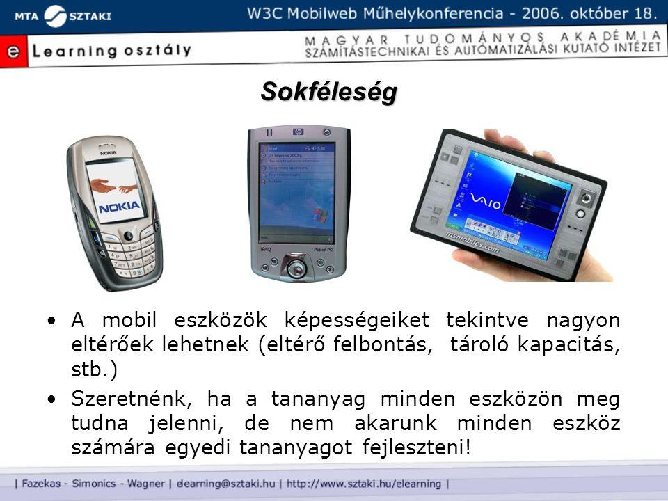 Sokféleség A mobil eszközök képességeiket tekintve nagyon eltérőek lehetnek (eltérő felbontás, tároló kapacitás, stb.) Szeretnénk, ha a tananyag minden eszközön meg tudna jelenni, de nem akarunk minden eszköz számára egyedi tananyagot fejleszteni!