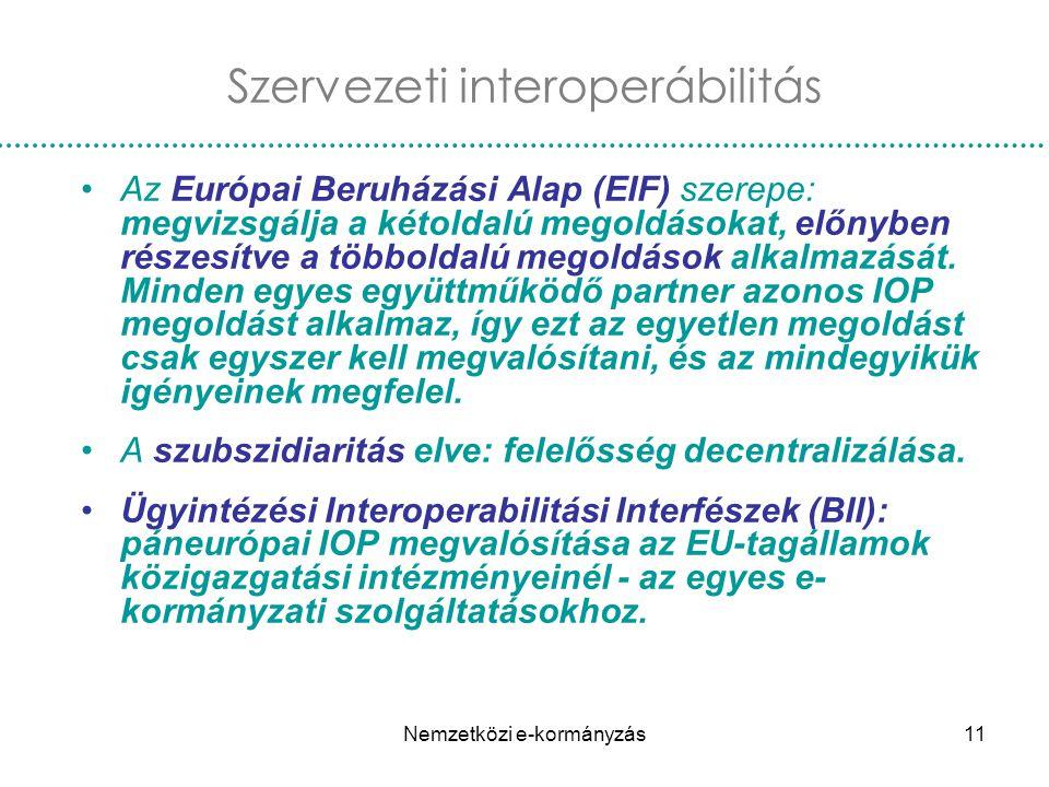 Nemzetközi e-kormányzás11 Az Európai Beruházási Alap (EIF) szerepe: megvizsgálja a kétoldalú megoldásokat, előnyben részesítve a többoldalú megoldások