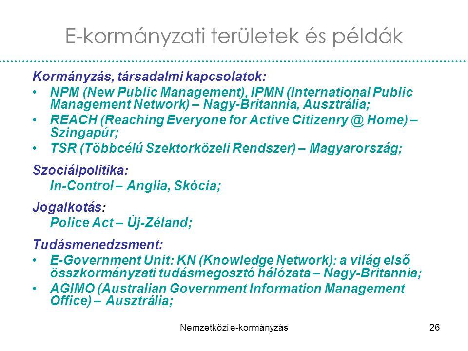 Nemzetközi e-kormányzás26 Kormányzás, társadalmi kapcsolatok: NPM (New Public Management), IPMN (International Public Management Network) – Nagy-Brita