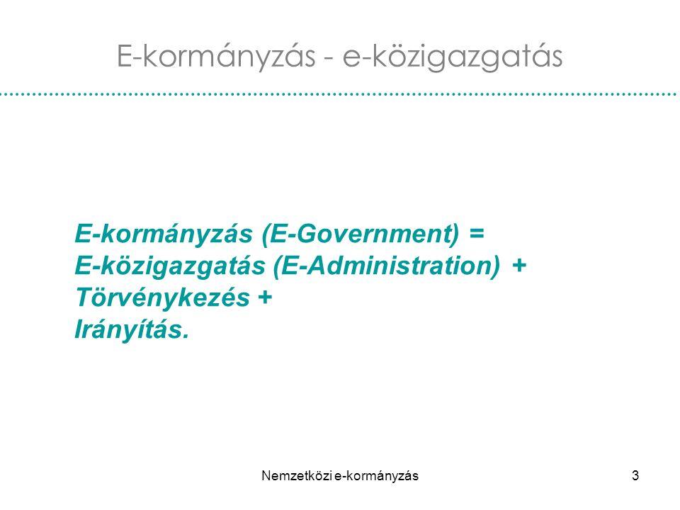 Nemzetközi e-kormányzás3 E-kormányzás (E-Government) = E-közigazgatás (E-Administration) + Törvénykezés + Irányítás. E-kormányzás - e-közigazgatás