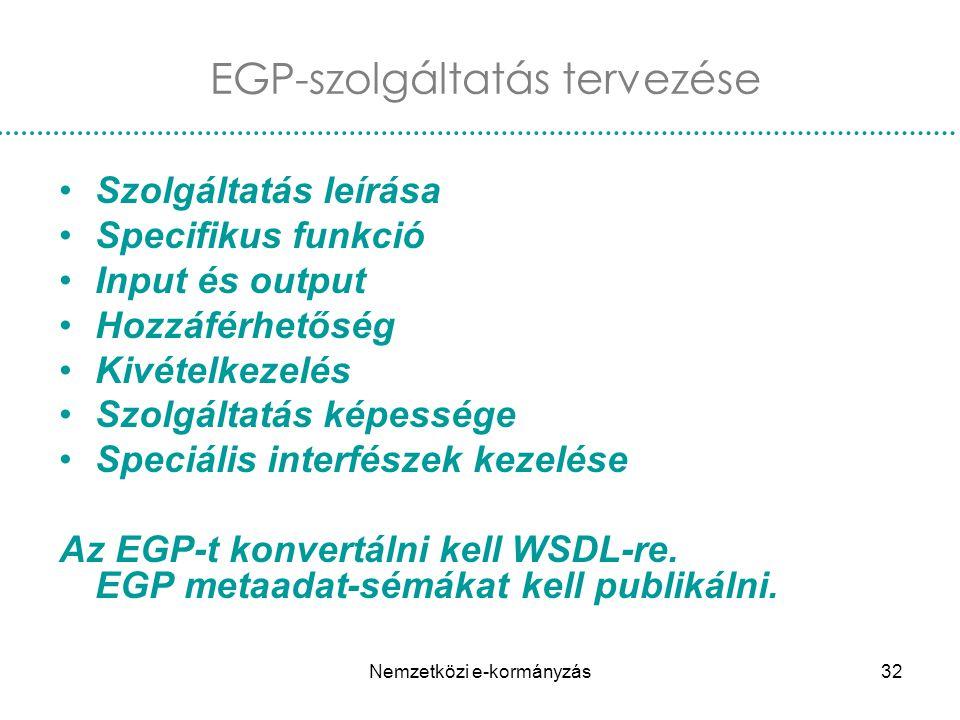 Nemzetközi e-kormányzás32 EGP-szolgáltatás tervezése Szolgáltatás leírása Specifikus funkció Input és output Hozzáférhetőség Kivételkezelés Szolgáltat