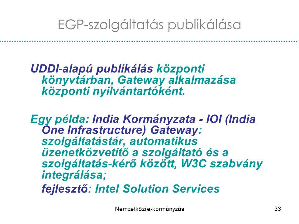 Nemzetközi e-kormányzás33 EGP-szolgáltatás publikálása UDDI-alapú publikálás központi könyvtárban, Gateway alkalmazása központi nyilvántartóként. Egy
