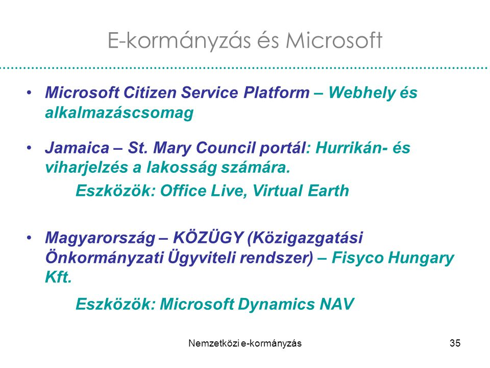 Nemzetközi e-kormányzás35 E-kormányzás és Microsoft Microsoft Citizen Service Platform – Webhely és alkalmazáscsomag Jamaica – St. Mary Council portál