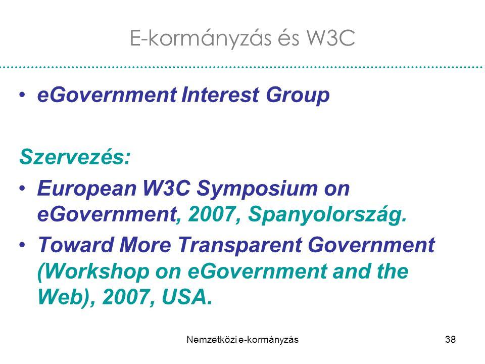 Nemzetközi e-kormányzás38 eGovernment Interest Group Szervezés: European W3C Symposium on eGovernment, 2007, Spanyolország. Toward More Transparent Go