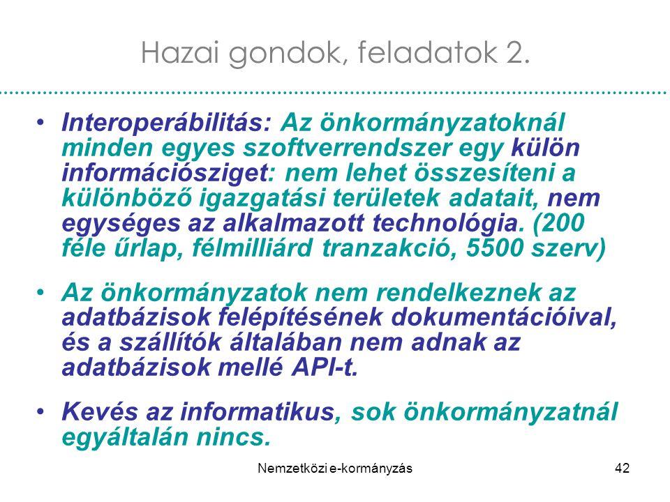 Nemzetközi e-kormányzás42 Interoperábilitás: Az önkormányzatoknál minden egyes szoftverrendszer egy külön információsziget: nem lehet összesíteni a kü