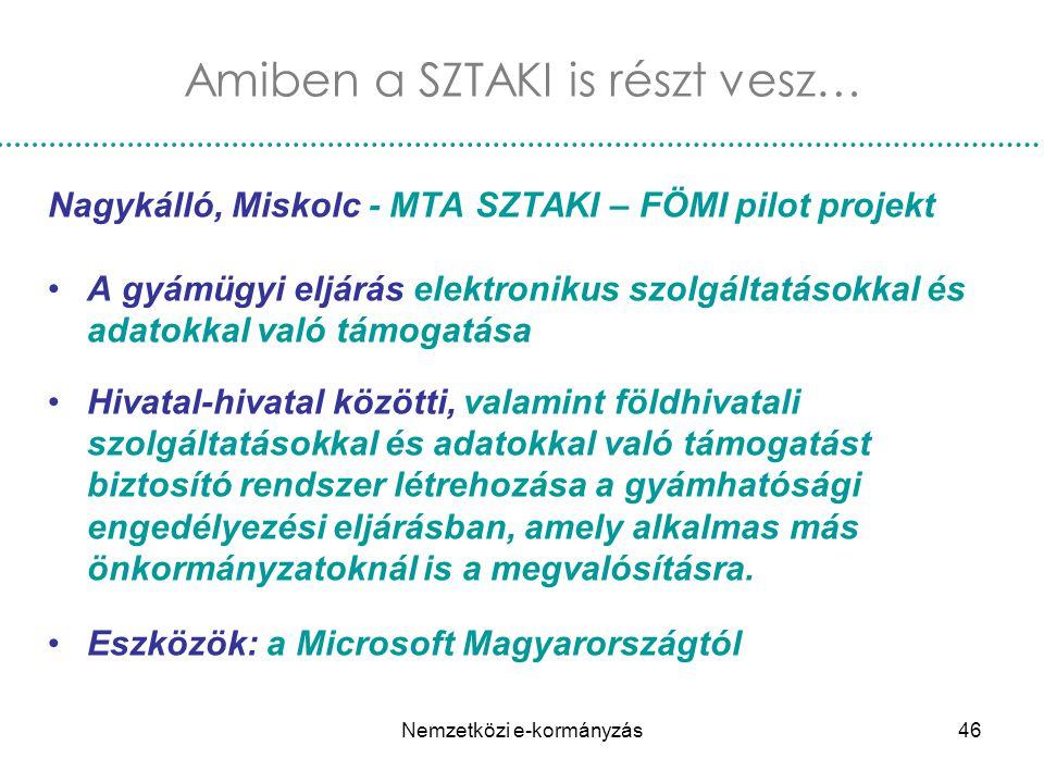 Nemzetközi e-kormányzás46 Nagykálló, Miskolc - MTA SZTAKI – FÖMI pilot projekt A gyámügyi eljárás elektronikus szolgáltatásokkal és adatokkal való tám