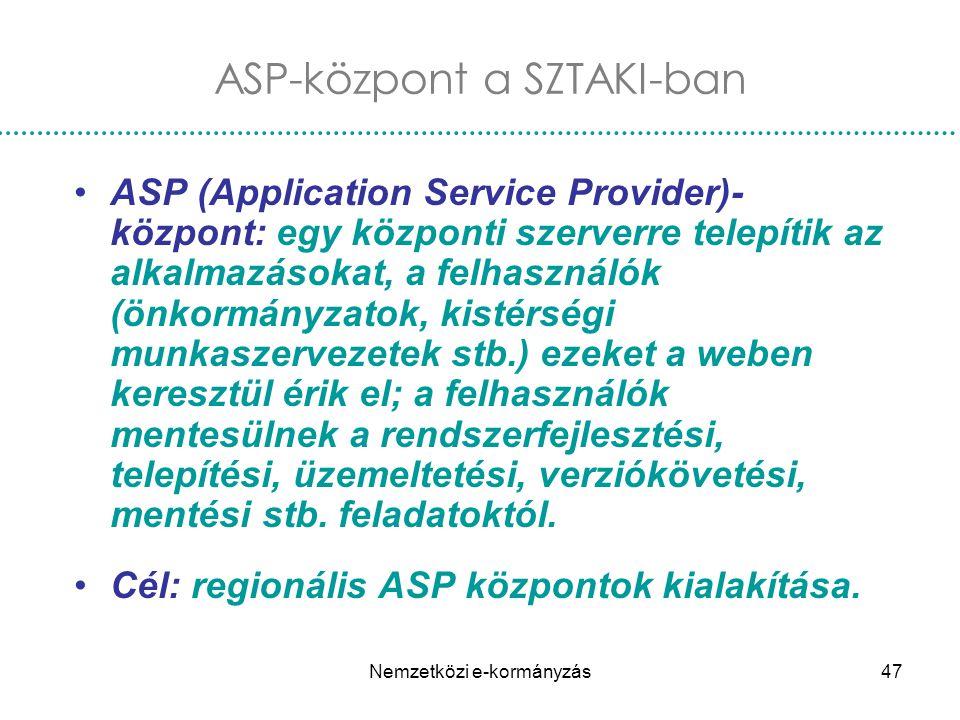 Nemzetközi e-kormányzás47 ASP-központ a SZTAKI-ban ASP (Application Service Provider)- központ: egy központi szerverre telepítik az alkalmazásokat, a