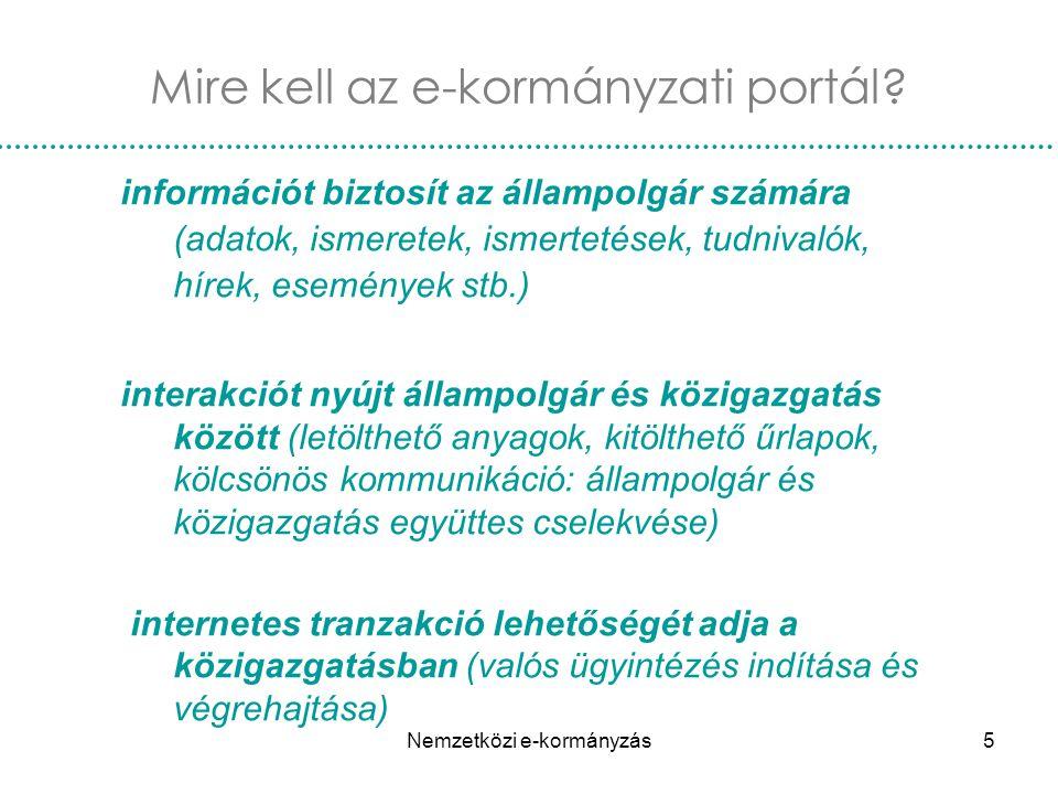 Nemzetközi e-kormányzás6 Az e-kormányzás szolgáltatásai 1.Társadalombiztosítási járulékok 2.Anyakönyvi kivonatok, igazolások 3.Személyes iratok ügyintézése (személyi igazolvány, jogosítvány, útlevél) 4.Építési engedélyezés 5.Személyi jövedelemadó-bevallás 6.Lakóhelyváltozás bejelentése 7.Gépkocsiregisztráció 8.Közkönyvtár 9.Állásbörze 10.Felsőfokú felvételire jelentkezés 11.Egészségüggyel kapcsolatos szolgáltatások 12.Rendőrségi bejelentés 1.Adatszolgáltatás statisztikai hivatalnak 2.Cégbejegyzés 3.Közbeszerzés 4.Vámárunyilatkozat 5.Környezettel összefüggő engedélyek 6.Munkavállalói társadalombiztosítási járulékok 7.ÁFA bevallás/értékesítés 8.Társasági adó bevallása