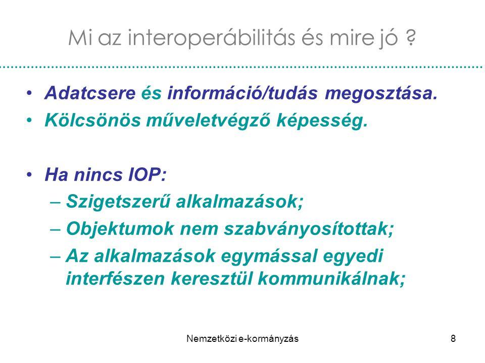 Nemzetközi e-kormányzás8 Mi az interoperábilitás és mire jó ? Adatcsere és információ/tudás megosztása. Kölcsönös műveletvégző képesség. Ha nincs IOP: