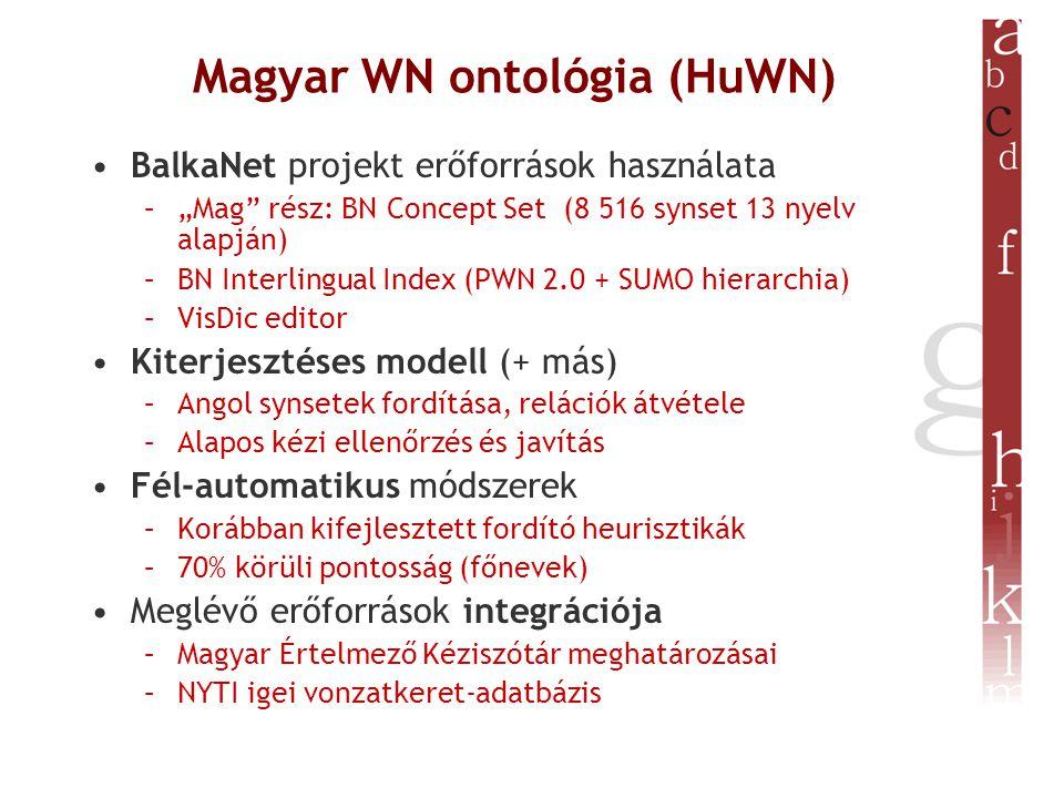 """Magyar WN ontológia (HuWN) BalkaNet projekt erőforrások használata –""""Mag rész: BN Concept Set (8 516 synset 13 nyelv alapján) –BN Interlingual Index (PWN 2.0 + SUMO hierarchia) –VisDic editor Kiterjesztéses modell (+ más) –Angol synsetek fordítása, relációk átvétele –Alapos kézi ellenőrzés és javítás Fél-automatikus módszerek –Korábban kifejlesztett fordító heurisztikák –70% körüli pontosság (főnevek) Meglévő erőforrások integrációja –Magyar Értelmező Kéziszótár meghatározásai –NYTI igei vonzatkeret-adatbázis"""
