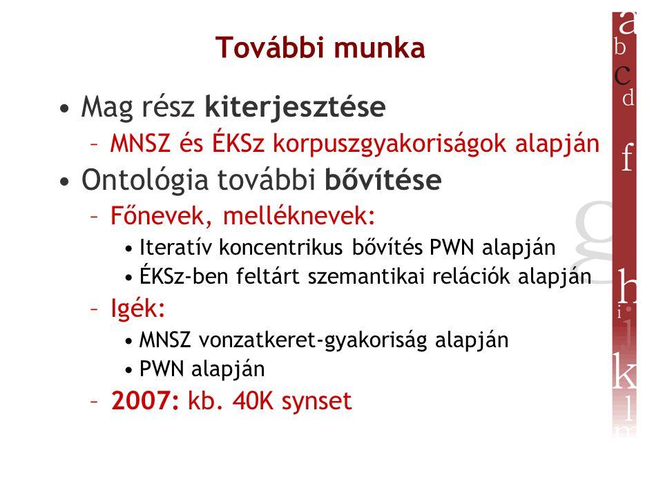 További munka Mag rész kiterjesztése –MNSZ és ÉKSz korpuszgyakoriságok alapján Ontológia további bővítése –Főnevek, melléknevek: Iteratív koncentrikus bővítés PWN alapján ÉKSz-ben feltárt szemantikai relációk alapján –Igék: MNSZ vonzatkeret-gyakoriság alapján PWN alapján –2007: kb.