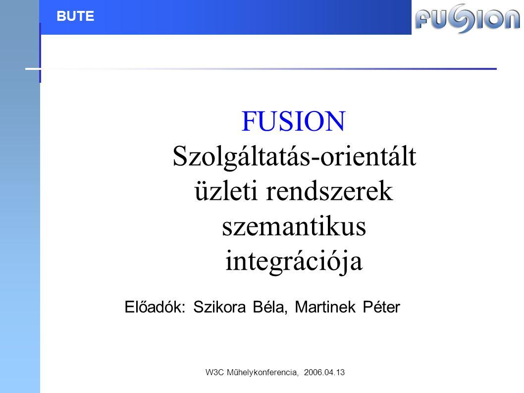 W3C Műhelykonferencia, 2006.04.13 BUTE FUSION Szolgáltatás-orientált üzleti rendszerek szemantikus integrációja Előadók: Szikora Béla, Martinek Péter
