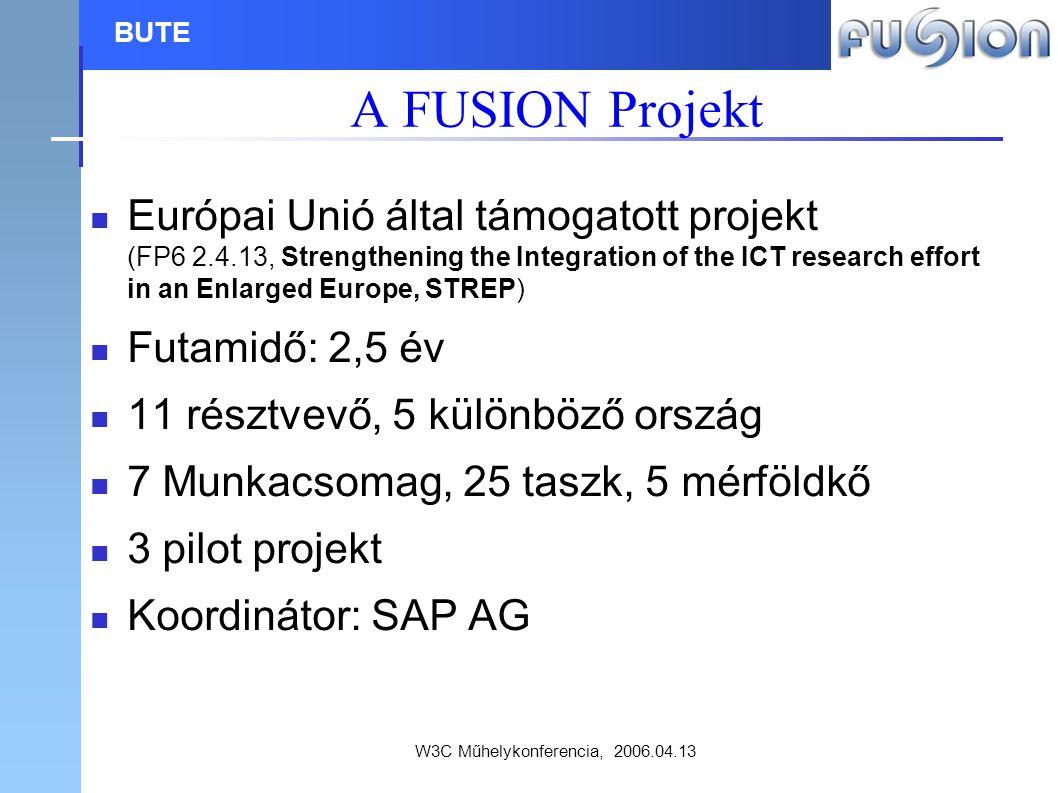 W3C Műhelykonferencia, 2006.04.13 BUTE A FUSION Projekt Európai Unió által támogatott projekt (FP6 2.4.13, Strengthening the Integration of the ICT research effort in an Enlarged Europe, STREP) Futamidő: 2,5 év 11 résztvevő, 5 különböző ország 7 Munkacsomag, 25 taszk, 5 mérföldkő 3 pilot projekt Koordinátor: SAP AG