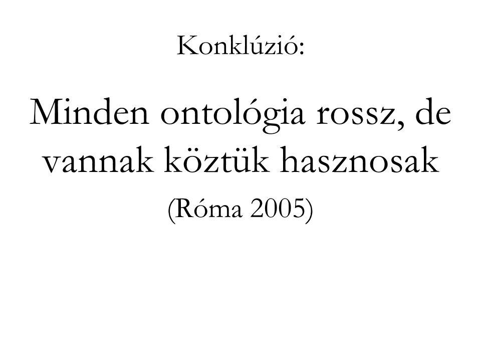 Konklúzió: Minden ontológia rossz, de vannak köztük hasznosak (Róma 2005)