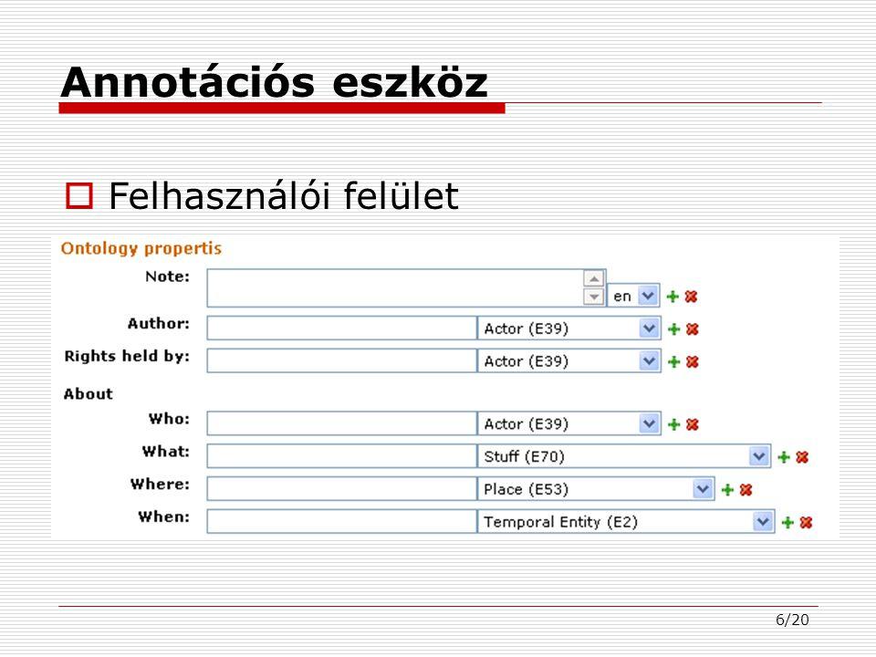 6/20 Annotációs eszköz  Felhasználói felület