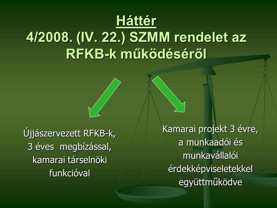 Háttér 4/2008. (IV. 22.) SZMM rendelet az RFKB-k működéséről Újjászervezett RFKB-k, 3 éves megbízással, kamarai társelnöki funkcióval Kamarai projekt