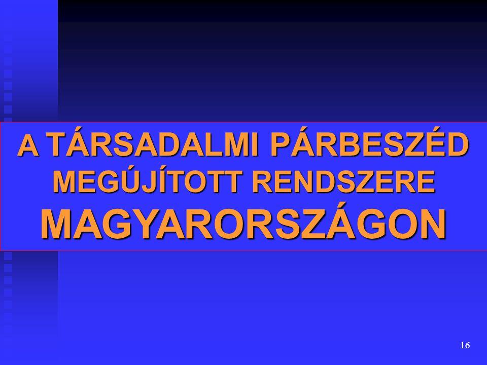 16 A TÁRSADALMI PÁRBESZÉD MEGÚJÍTOTT RENDSZERE MAGYARORSZÁGON