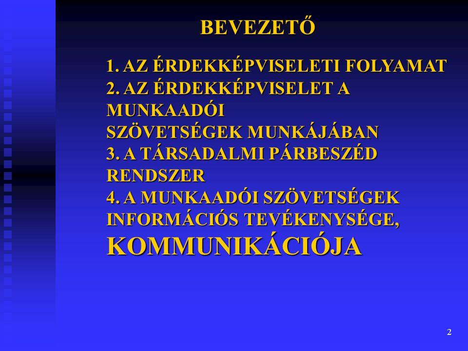 2 BEVEZETŐ 1. AZ ÉRDEKKÉPVISELETI FOLYAMAT 2.