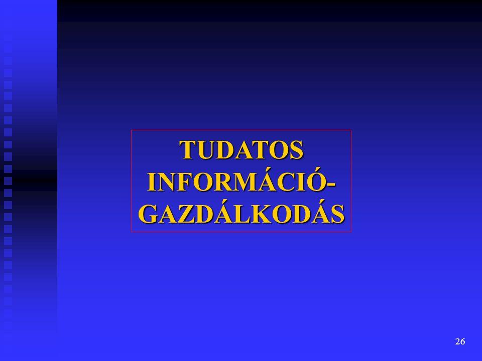 26 TUDATOS INFORMÁCIÓ- GAZDÁLKODÁS
