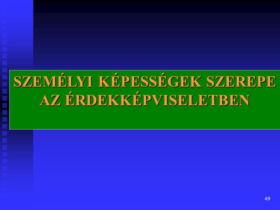 49 SZEMÉLYI KÉPESSÉGEK SZEREPE AZ ÉRDEKKÉPVISELETBEN