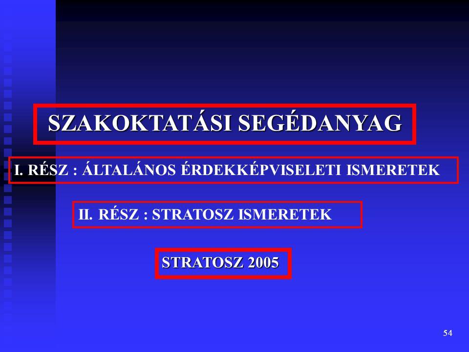 54 SZAKOKTATÁSI SEGÉDANYAG II. RÉSZ : STRATOSZ ISMERETEK STRATOSZ 2005 I.
