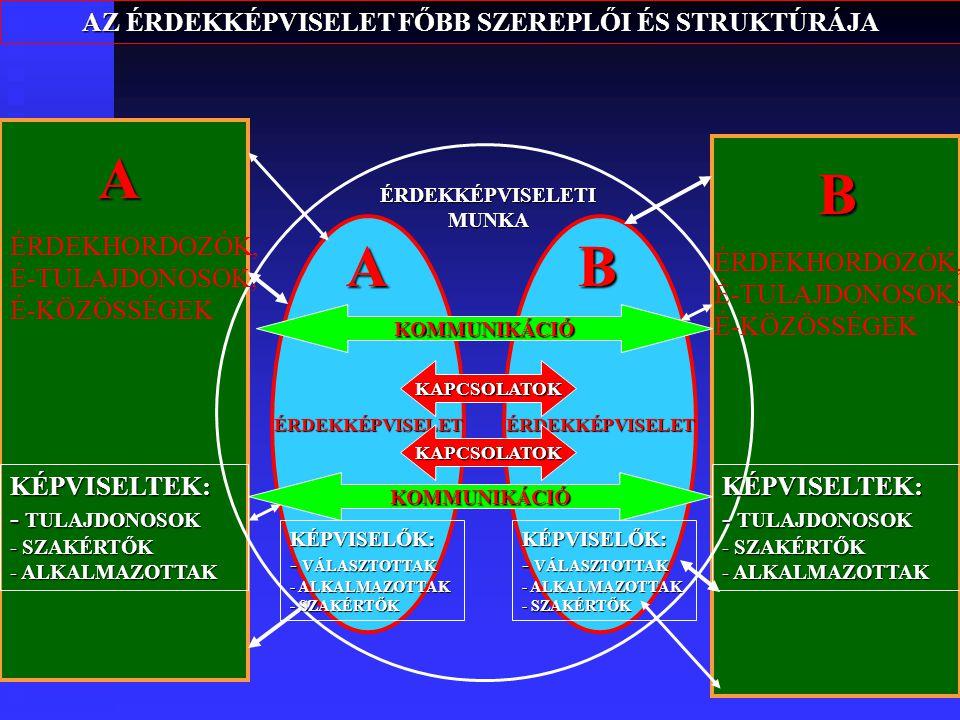 6 AZ ÉRDEKKÉPVISELET FŐBB SZEREPLŐI ÉS STRUKTÚRÁJA A B ÉRDEKKÉPVISELETÉRDEKKÉPVISELET KAPCSOLATOK KAPCSOLATOK ÉRDEKKÉPVISELETI MUNKA AB KÉPVISELTEK: - TULAJDONOSOK - SZAKÉRTŐK - ALKALMAZOTTAK KÉPVISELŐK: - VÁLASZTOTTAK - ALKALMAZOTTAK - SZAKÉRTŐK ÉRDEKHORDOZÓK, É-TULAJDONOSOK, É-KÖZÖSSÉGEK KÉPVISELTEK: - TULAJDONOSOK - SZAKÉRTŐK - ALKALMAZOTTAK KÉPVISELŐK: - VÁLASZTOTTAK - ALKALMAZOTTAK - SZAKÉRTŐK KOMMUNIKÁCIÓ KOMMUNIKÁCIÓ