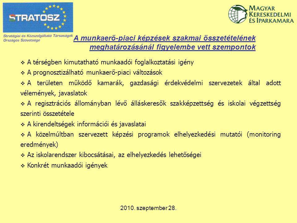 2010. szeptember 28. A munkaerő-piaci képzések szakmai összetételének meghatározásánál figyelembe vett szempontok  A térségben kimutatható munkaadói