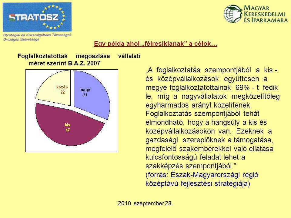 """2010. szeptember 28. Egy példa ahol """"félresiklanak"""" a célok… Foglalkoztatottak megoszlása vállalati méret szerint B.A.Z. 2007 """"A foglalkoztatás szempo"""