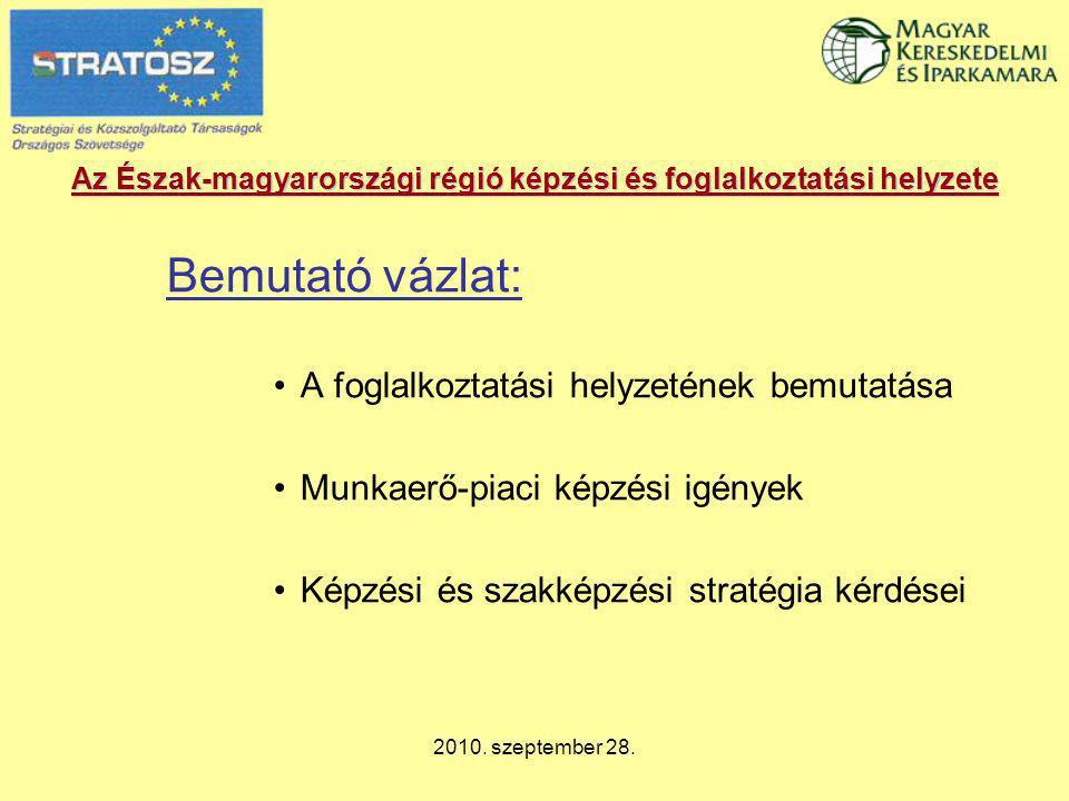 2010. szeptember 28. Az Észak-magyarországi régió képzési és foglalkoztatási helyzete Bemutató vázlat: A foglalkoztatási helyzetének bemutatása Munkae