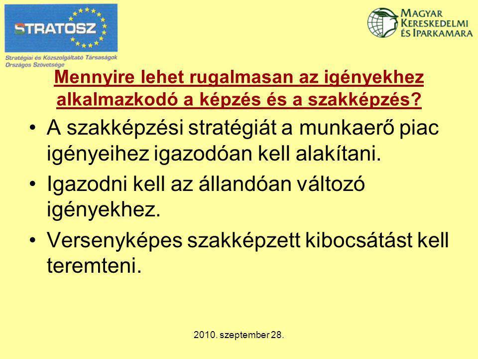 2010. szeptember 28. Mennyire lehet rugalmasan az igényekhez alkalmazkodó a képzés és a szakképzés? A szakképzési stratégiát a munkaerő piac igényeihe