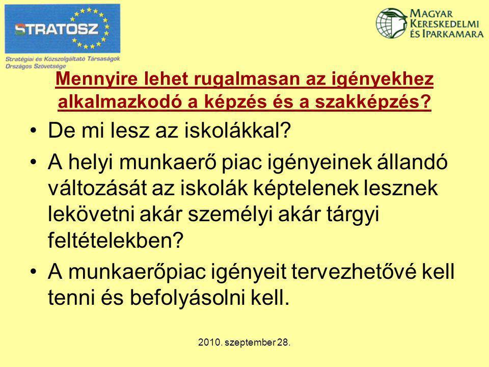 2010. szeptember 28. Mennyire lehet rugalmasan az igényekhez alkalmazkodó a képzés és a szakképzés? De mi lesz az iskolákkal? A helyi munkaerő piac ig