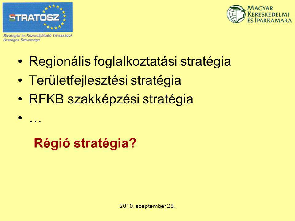 2010. szeptember 28. Regionális foglalkoztatási stratégia Területfejlesztési stratégia RFKB szakképzési stratégia … Régió stratégia?
