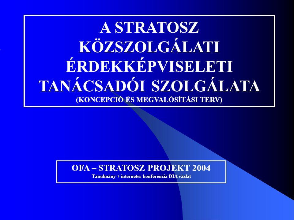 A STRATOSZ KÖZSZOLGÁLATI ÉRDEKKÉPVISELETI TANÁCSADÓI SZOLGÁLATA (KONCEPCIÓ ÉS MEGVALÓSÍTÁSI TERV) OFA – STRATOSZ PROJEKT 2004 Tanulmány + internetes k
