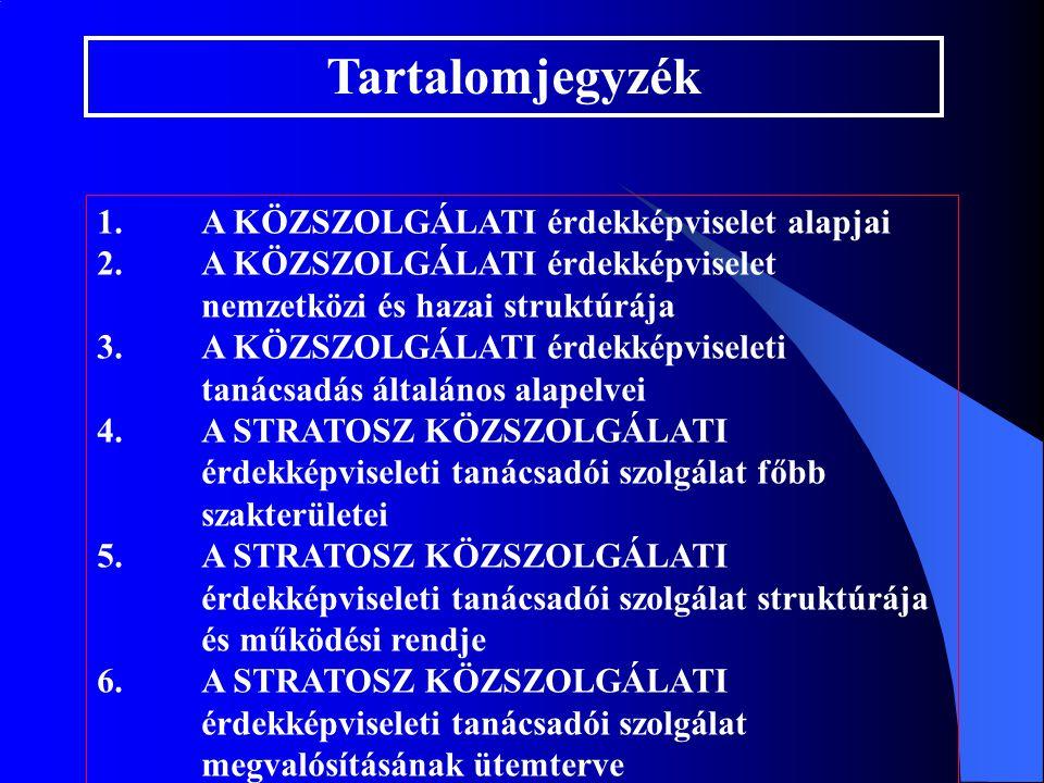 1. A KÖZSZOLGÁLATI érdekképviselet alapjai 2.A KÖZSZOLGÁLATI érdekképviselet nemzetközi és hazai struktúrája 3.A KÖZSZOLGÁLATI érdekképviseleti tanács