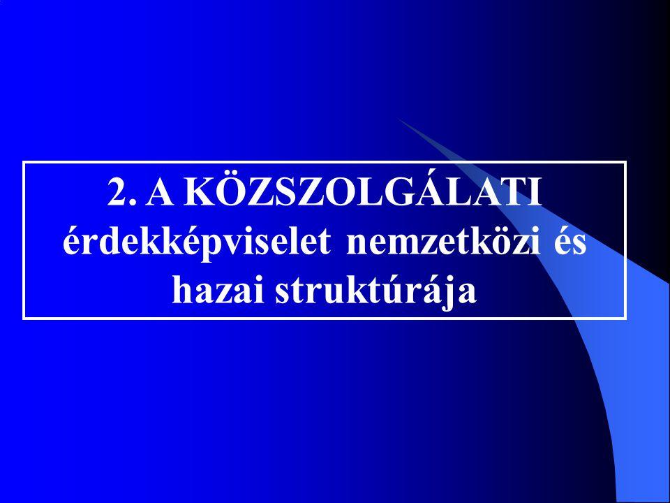 2. A KÖZSZOLGÁLATI érdekképviselet nemzetközi és hazai struktúrája