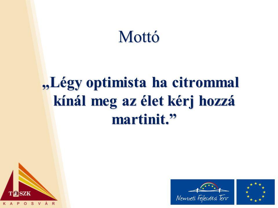 """Mottó """"Légy optimista ha citrommal kínál meg az élet kérj hozzá martinit."""""""