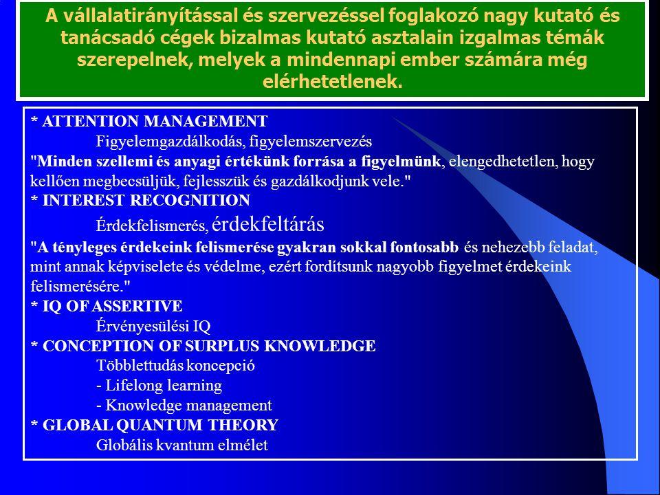 * ATTENTION MANAGEMENT Figyelemgazdálkodás, figyelemszervezés