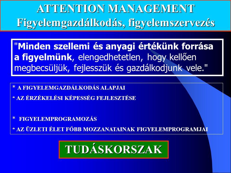ATTENTION MANAGEMENT Figyelemgazdálkodás, figyelemszervezés * A FIGYELEMGAZDÁLKODÁS ALAPJAI * AZ ÉRZÉKELÉSI KÉPESSÉG FEJLESZTÉSE * FIGYELEMPROGRAMOZÁS